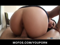 Big-tit brunette Latina girlfriend ass-fucked hard 1st time anal