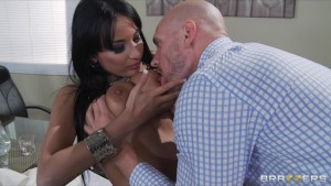 Slutty natural big-tit brunette French boss fucked anal in office