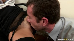 Big-tit brunette Latina boss fucks employee's hard-dick in office