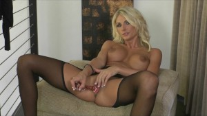 Young horny blonde slut massages & fucks pussy with dildo to orgasm