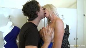Slutty big-tit blonde MILF fucks hard-dick while bikini shopping