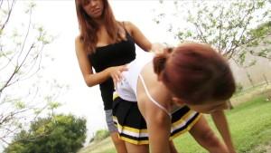 Horny Young redhead cheerleader sluts' dildo-fuck pussies at park