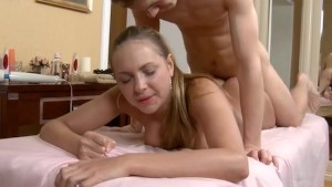 Girl gets some hardcore massage in the parlor