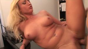 Hot & horny blonde slut sucks & fucks boss's dick in the office