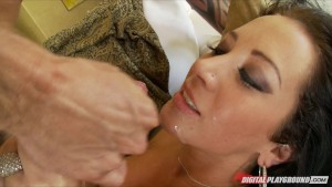 Huge-tit tattooed brunette Jayden James rides hard dick to orgasm