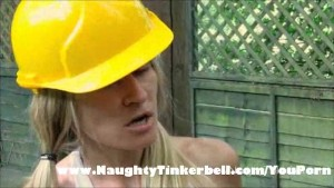Horny blonde Tinkerbell has traffic cone sex in garden