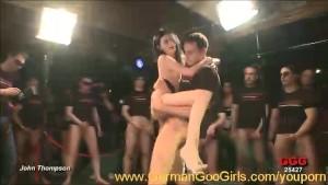 Adina joins an orgy after strip teasing