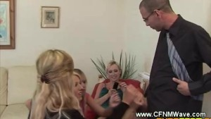 CFNM girls wank guys cock to see his size when hard