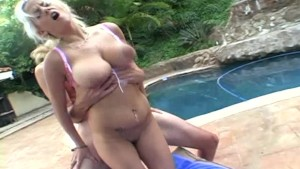 Busty Blonde Rides Lovers Hard Cock By The Pool