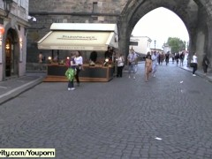 Crazy naked czech girl has fun on public streets