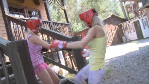 Teen boxers practice strap-on sex outdoors!