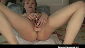Petite Hot MILF with small tits dildo fucks herself