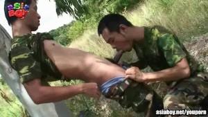 Public gay sucks on dick