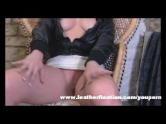 Kinky blonde slut puts on leather gear and fingers herself