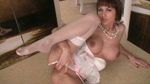 Beautiful brunette dancer in lingerie rubs her pussy to big orgasm