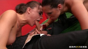 Two competeing brunettes share their coach's cock in threesome