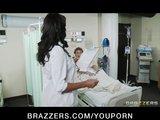 Busty brunette nurse Lezley Zen helps her patients feel better