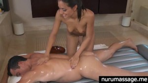Sexy pornstar Lyla Storm gives a great body to body massage