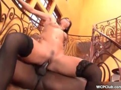 Horny whore getting her wet cunt fucked by a big black cock