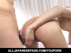 Naami Hasegawa blindfoled kissed, fingered, and fucked by toys