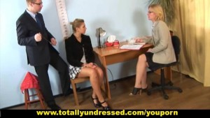 Hot babe passing through tough nude job interview
