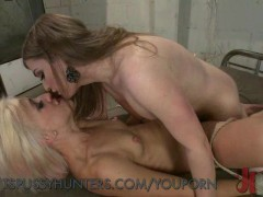 Bound Blonde Takes TS Cock