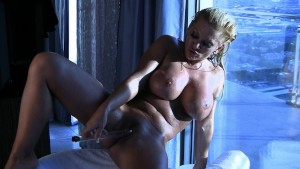Busty Blonde Milf Fucks Her Pussy with Glass Dildo