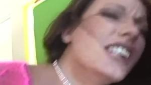 Skinny brunette in pink fencenet lingerie fucking