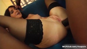 Amazing brunette gets very long black prick in her ass