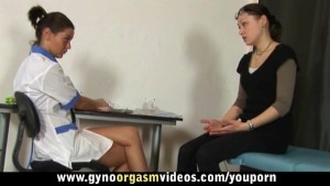 Lesbian gynecologist teaches her patient how to reach orgasm