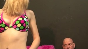 Blonde Teen With Strap On Ass Fucks Older Man
