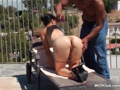 Picture Hot brunette babe gets her ass fucked hard b...