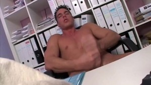 Sexy Muscle Stud Jerking Off