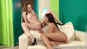 Hot brunette and blonde lesbians go crazy licking their pussies