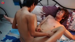 Asiaboy twink getting assfucking while jerking his cock