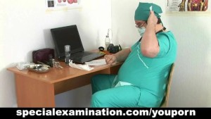 Embarassing gyno exam for shy brunette girl