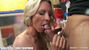 Mature blonde MILF shows off her pierced nipples & rides big-dick