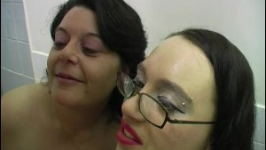 Cumming into two mature ladies mouths