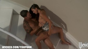 Allie Haze is carried out of the rain & into bed with older man