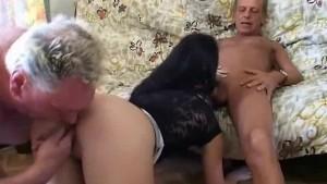 Horny grandpas fuck younger slut