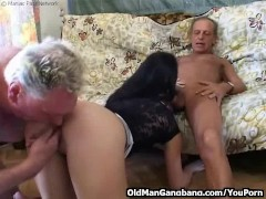Horny grandpas fuck younger slut