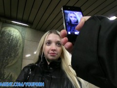 PublicAgent Pale Skinny Mina stretches her pussy to take my big dick