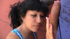 Horny Raquel Love sucking a hard Cock on the street