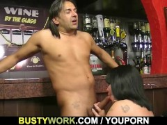 Picture BBW barmaid is doggystyled at workplace