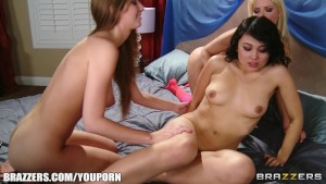 Curious bi-sexual teen is picked up by pair of horny bombshells