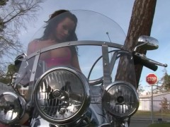 Hot biker babe strips off her leather pants - Julia Reaves