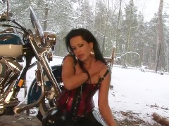 Busty biker babe shows off - Julia Reaves