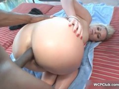 Horny blonde cougar rides a black cock with her big ass