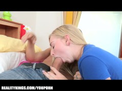 Slutty blonde teen seduces and fucks her history tutor