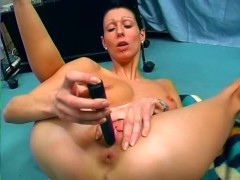 Skinny short haired chick and her vibrator - Sascha Production